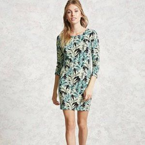 Forever 21 tropical print green yellow dress Small